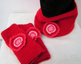 Snood and mittens for women, red, pink and white handmade crochet with crochet rosette, gift for her