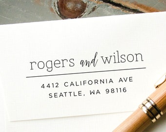 Address Stamp, Self-Inking Return Address Stamp, Two Last Names, Custom Rubber Stamp, Engagement Gift, Housewarming Gift, Personalized Stamp