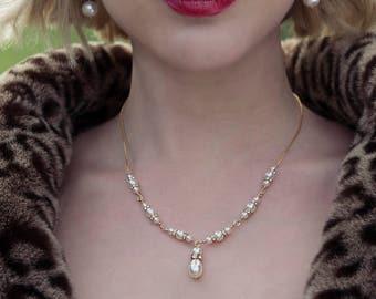 Swarovski pearl bridal necklace, pearl necklace, crystal bridal jewelry, pearl wedding necklace, pearl drop necklace - Evie