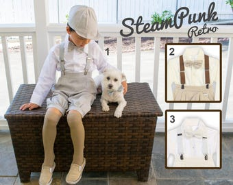 Toddlers to Boys Newsboy Linen Bermuda 5 piece Set, Gray Beige White, Baptism Christening Wedding Birthday