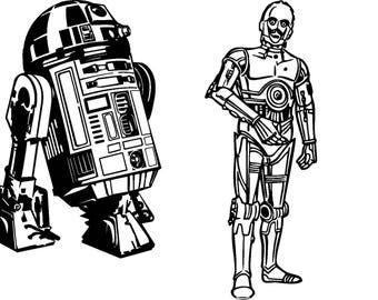 set of 2 decals R2 and C3PO