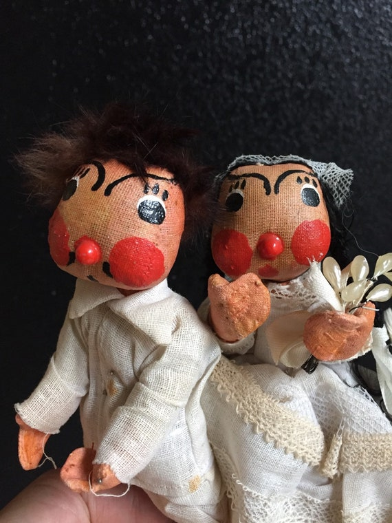pair of antique mexican plush dolls / folk art / wedding