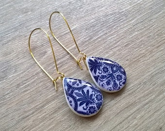 Portuguese tiles design teardrop earrings, Portuguese jewelry, teardrop earrings, tiles design jewelry, azulejos, tile earrings, unique gift