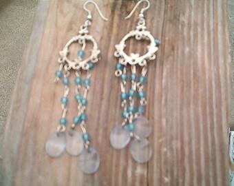 Sweet VINTAGE Earrings, Quaint, Silver and blue Beaded Earrings, Pierced long Dangle, Romantic Wispy, Darling Earrings