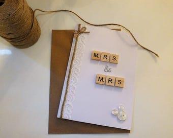 Handmade Mrs & Mrs Wedding Greetings Card