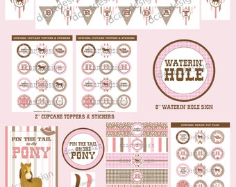 Printable Cowgirl Party Package. INSTANT DOWNLOAD.