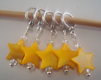 Star Knitting Stitch Markers Mother of Pearl Shell Stars Yellow Twinkle Set of 5/SM181