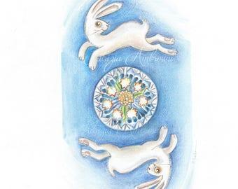 Original 8x10 Watercolour, bunnies  nOT A pRINT ..Original Painting, animal ,fine art, moon,dandelion, white, rabbit, night
