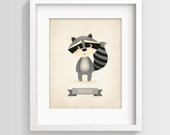 Nursery art, children's decor, raccoon print, raccoon illustration, cute raccoon art, nursery art print, nursery print, baby room decor