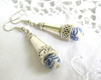 delft blue earrings delft blue style earrings blue white blue and white delft blue jewelry handmade in holland white and blue