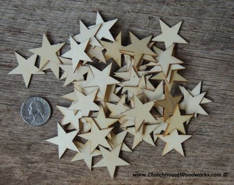 50 Small 1.25 inch Mini Wood Stars, Wood Confetti - Rustic Wedding Decor- Flag Making 1-1/4 Wooden Stars-  DIY Craft Supplies Flag Making