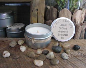 Apple Harvest 8 oz. Soy Wax Candle Travel Tin Handmade