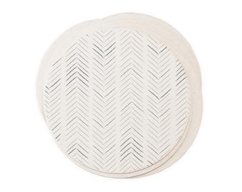 Herringbone Coaster Set - Letterpress Paper Wedding Event Shower Favor Gift Simple