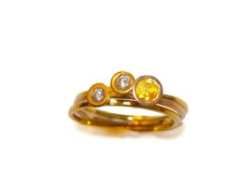 Three stacking rings,Diamonds stacking rings,Yellow diamond ring,white diamond wedding rings,18k diamond engagement rings ,wedding set ring