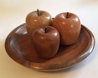 Turned wooden bowl of fruit, handmade from recycled Australian hardwood timber