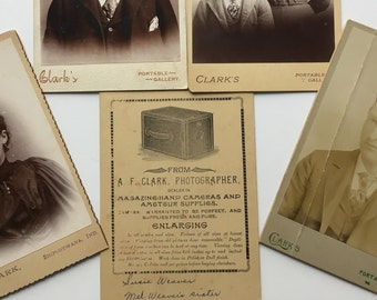 CABINET Card PHOTOGRAPHS 1880's / 1890's - Camera Dealer & Photographer - Shipshewana, INDIANA