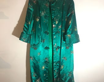 ON SALE 50s Satin Asian House Jacket