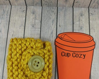 Yellow Mug Cozy- Yellow Coffee Cup Cozy- Yellow Coffee Cup Cozy