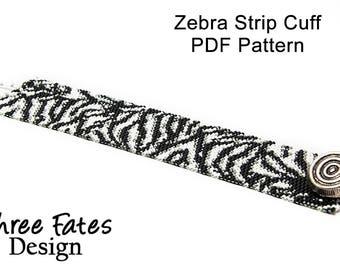 Pattern, Beaded Bracelet, Cuff Bracelet, Seed Bead Pattern, Peyote Bracelet, Zebra, Animal Print, PDF Pattern, Peyote