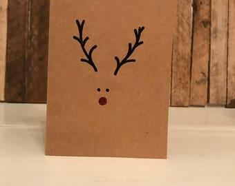 Rudolph Christmas Card, Simple Christmas Card, Rudolf Christmas Card, Rudolph Reindeer Card, Red Nosed Reindeer, Folded Card, Blank Card