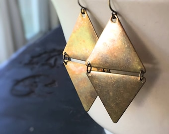 Cairo Raw Brass Double Triangle Earrings on Brass Ear Wires - Mod and Trendy Geometric Chic