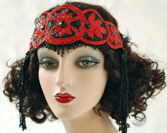 Vintage Vamp, Beaded Flapper Headband