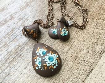 Mother's Day Gift Jewelry Set - Brown Earrings and Necklace, Teardrop Statement Necklace, Piper Pixie Designs Exclusive, Boho Jewelry Set