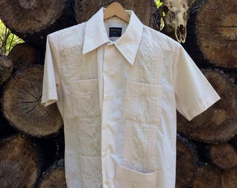 Vintage 1980s Button Up Americana Stiched Bowling Shirt Style Sz M USED