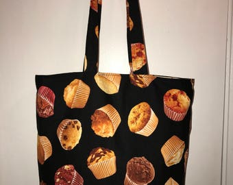 "Muffins Everywhere!! w/matching handles cotton fabric handmade 16"" Tote Bag"