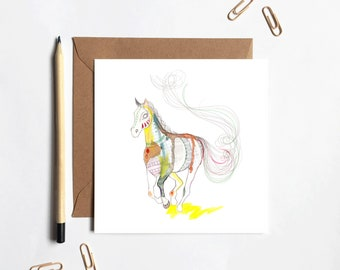 Pattern Horse Greetings Card