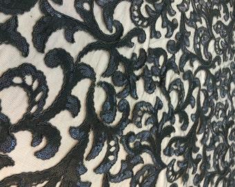 Black sequin Filigree Sequin Fabric floral pattern design floral sequin black fabric