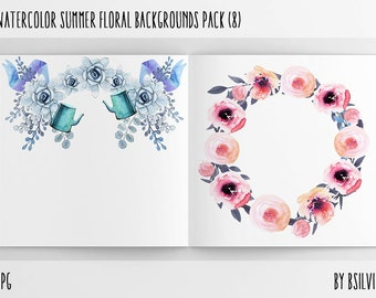 Watercolor Summer Floral Backgrounds with Text Space, Watercolor Flowers Paper Pack, Watercolor Flower Digital Paper, Floral Bloom Paper