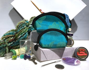 Lantern Moon Clamshell Cases, Set of three, nesting, knitting notions organizer, turquoise notion bag, knitting crochet sewing gift under 25