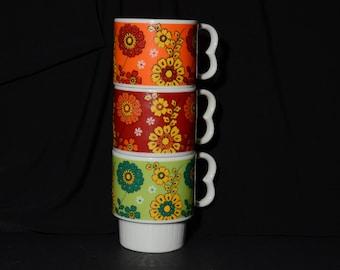 Vintage, Japanese, Floral, Stacking, Mugs, Set of 3, retro, orange, red, green, Stylecraft, MINT