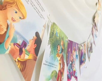 Cinderella's Dream Wedding Story Book Pages Bunting Pennants Nursery Decor Bridal Shower Birthday Party Garland Flags