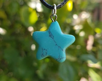 Pendant Necklace Turquoise Crystal Star Pendant With Free Handmade Chain And Gift Bag