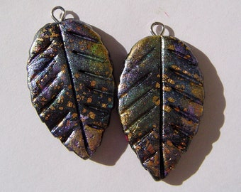 Midnight Leaf Charms Handmade Artisan Polymer Clay Charm Pair