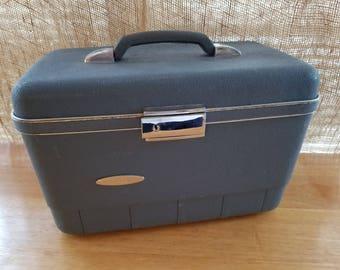 Sears Blanton Blue Train Case  Vintage Make Up Case