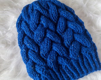 Bright Blue Braided Cable Beanie