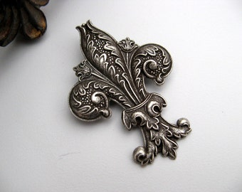 Antique Silver Fleur De Lis Brooch - Victorian Steampunk Era - Oxidized Sterling Silver Plated Brass - Can be worn as a brooch or necklace.