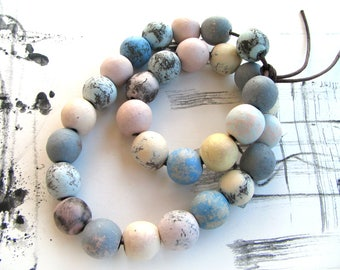 Small Ball Beads - rustic beads, round beads, balls, oval, pottery, for DIY jewelry making, craft necklace, ceramic bracelet