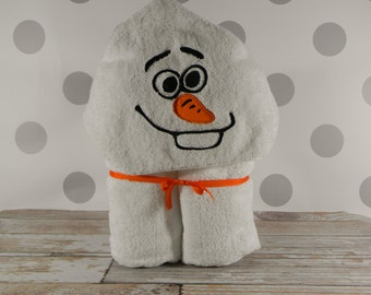 READY TO SHIP! Kid's Hooded Towel - Olaf Hooded Towel - Character Inspired Olaf Towel for Bath, Beach, or Swimming Pool