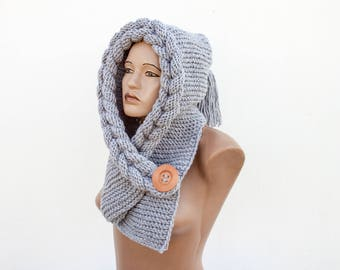 Hooded Scarf, Chunky scarf,  scarf hooded, Wool cowl, Christmas Gift,  Scarf, Hood by LoveKnittings