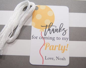 Personalized Birthday Tags, Balloon Tags, Thank You Tags, Party Favor Tags, Orange Balloon Tags, Set of 8