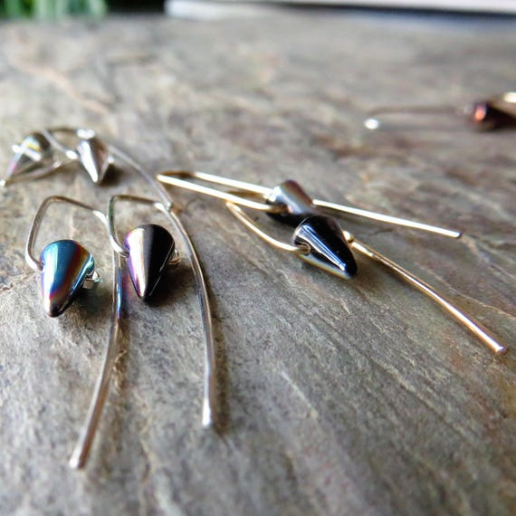 En Pointe Petit - minimalist Czech glass tiny spike bead earrings on sterling or 14K gold fill wires - ready to ship