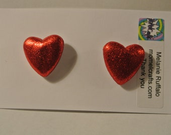 Large Red Heart Post Earring with Silver Post