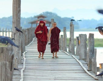 Buddhist Monks on Bridge, Buddhism, Myanmar Photography, Monk Photography, Monk Prints, Burma Art, Travel Photography, Monks Wall Art, Birds