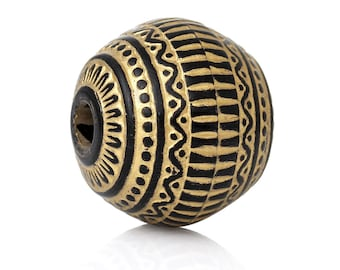 PA97 - Set of 2 beads shaped oval black and gold matte stripes acrylic