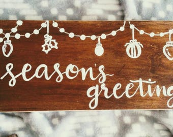 Season's greetings wood sign farmhouse Christmas wood sign hand lettered hand painted