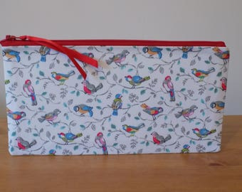 Cath Kidston 'Little Birds' Pencil Case, Make Up Bag, Zipper Storage Pouch, Cosmetics Purse, 100% Cotton Fabric, Ladies' Gift, Lined